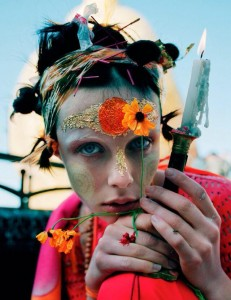 GIRL WITH FLOWERS -GILT TRIL- by Tim Walker with Edie Campbell for W Magazine